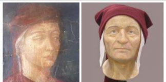Ritratto giovanile di Dante di Puccio Capanna, 1309; Ricostruzione volto di Dante dell'Università di Bologna, 2007.